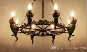 Antique Iron Chandelier Lights Bronze Light For Living Room Dining
