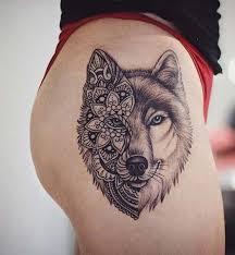 Wolf Thigh Tattoo For Badass Idea Women