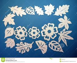 Download White Leaves And Flowers Pattern Paper Cutting Stock Image