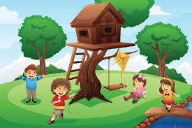 Child Playing In Tree Clipart