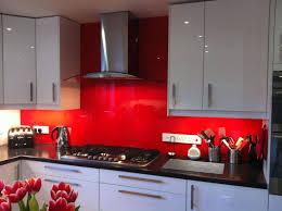 Kitchen Bright Red Backsplash Embellish Modern With White Cabinet Gas Burner Multi Stove Electrical Switch Black Countertop
