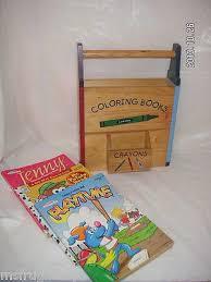 1 Kids WOOD Coloring Books Crayon Holder RACK