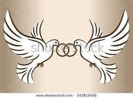 Two doves Stylized pigeons and wedding rings Vector illustration