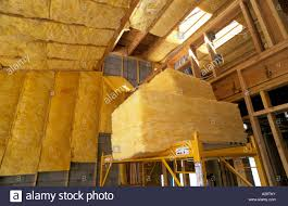 100 Loft Style Home R38 Fiberglass Insulation Being Installed Roof In New Loft Style