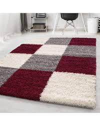 hochflor langflor wohnzimmer shaggy teppich kariert rot weiss grau größe 60x110 cm