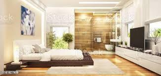 moderne szimmerinneneinrichtung kombiniert mit einem modernen badezimmer stockfoto und mehr bilder architektur