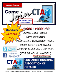 100 Ontario Trucking Association CONTAINER TRUCKING ASSOCIATION OF ONTATIO URGENT MEETING ON JUNE