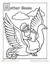 First Grade Coloring Worksheets Mother Goose Page
