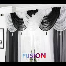 Ebay Curtains With Pelmets Ready Made by Net Curtain Swag Swags Tassle Voile Decorative Drapes Pelmet