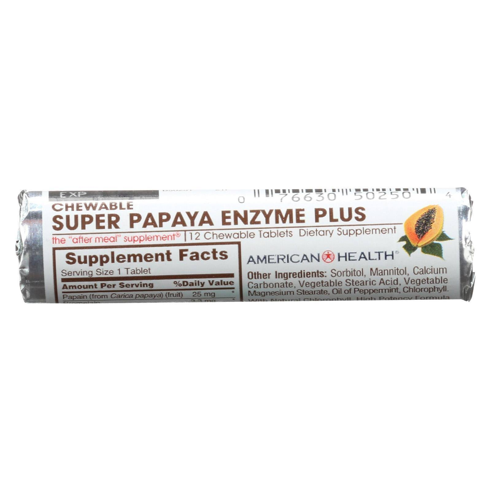 American Health Super Papaya Enzyme+ Tablets - x12