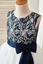navy blue gold lace ivory tulle wedding flower dress
