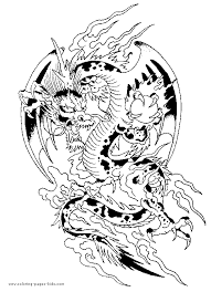 Oriental Dragon With Pagoda Chinese New Year Coloring Page