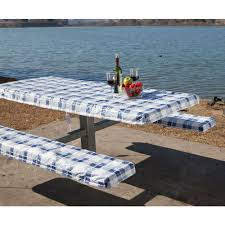Fitted Round Outdoor Tablecloth With Umbrella Hole by Picnic Supplies Picnic Table Covers Camping World
