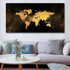 whflldh leinwand malerei moderne schwarz gold weltkarte