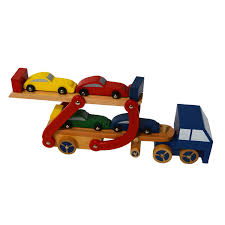 100 Semi Truck Toy Wooden Pretend Play Set Car Carrier And Trailer With 4 Colored Cars
