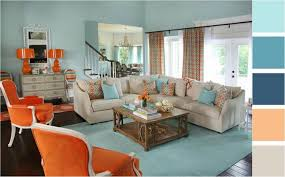 orange und türkis bei der wohnzimmereinrichtung kombinieren