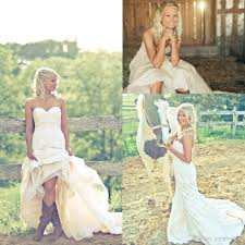 Discount Bride In Cowgirl Boots Country Wedding Dresses 2016 Sweetheart Backless Xodwwyr