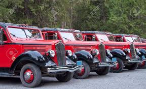 Line Of Restored Old 1930's Trucks Used As Tour Buses Today Stock ...