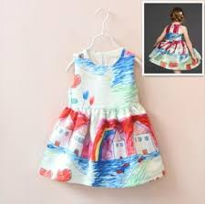 2018 Fashion Design Girls Dresses Colored Drawing Printed Autumn Children Kids Party Baby Clothes Sleeveless Girl Base Dress Skirts Dhl From