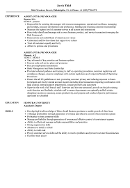 Assistant Bank Manager Resume Sample