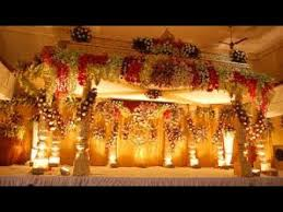 Wedding Stage Decoration With Flowers And Lights