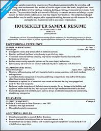 Resume Templates Housekeeper Should Be Able To Contain And Highlight Important Impactful