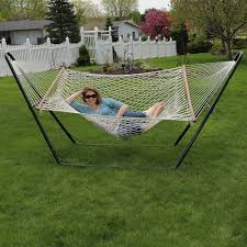 Sunnydaze Cotton Double Wide 2-Person Rope Hammock With Spreader ... Fniture Indoor Hammock Chair Stand Wooden Diy Tripod Hammocks 40 That You Can Make This Weekend 20 Hangout Ideas For Your Backyard Garden Lovers Club I Dont Have Trees A Hammock And Didnt Want Metal Frame So How To Build Pergola In Under 200 A Durable From Posts 25 Unique Stand Ideas On Pinterest Diy Patio Admirable Homemade To At Relax Your Yard Even Without With Zig Zag Reviews Home Outdoor Decoration
