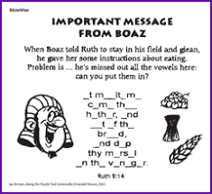 Ruth And Boaz Activity Sheets