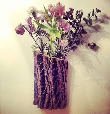 Rustic Bark Wall Planter For Plants Cut Or Dried Flowers Valentines Gift Her
