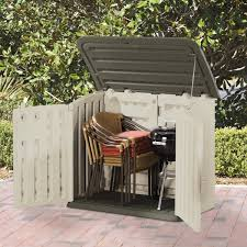 rubbermaid plastic horizontal outdoor storage shed is durable and