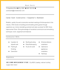 Free Resume Samples For Construction Worker Sample A Residential