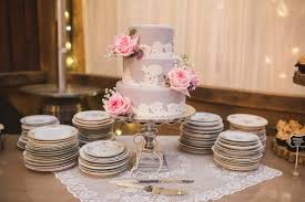 3 Tier Mauve Wedding Cake With Lace And Pink Roses Created By Sugarfuse Bakery