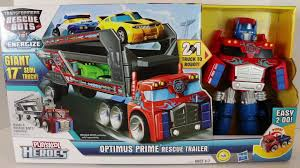 100 Rescue Bots Fire Truck Transformers Optimus Prime Trailer With Lego Emmet And Disney Cars Toys Todd