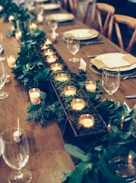 The Rectangular Head Table Allowed For A More Dynamic Tablescape Design Long Garland Of Salal Seeded Eucalyptus Magnolia And Hydrangea Blooms Extended