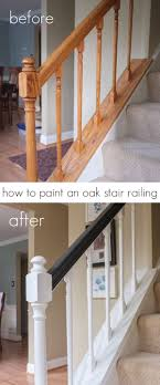 How To Paint An Oak Stair Railing Black And White | INSPIRATION ... Chic On A Shoestring Decorating How To Stain Stair Railings And Best 25 Refinish Staircase Ideas Pinterest Stairs Wrought Iron Stair Railing Iron Stpaint An Oak Banister The Shortcut Methodno Howtos Diy Rail Refishing Youtube Photo Gallery Cabinets Boise My Refinished Staircase A Nesters Nest Painted Railings By Chameleon Pating Slc Ut Railing Concept Ideas 16834 Of Barrier Basic Gate About