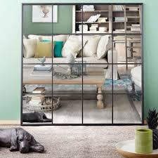 spiegel in fensteroptik mit schwarzem metallrahmen 122x122 maisons du monde