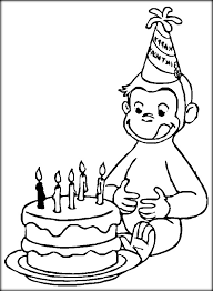 Birthday Cake Curious George Colouring Pages