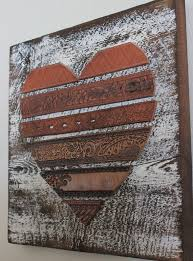 Love Shaped Leather Wall Art Simple Themes Wallpaper Rustic Pinterest Wooden Brown Combination