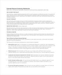 Samples Of Resume Summary Statement Example Sample Paragraph