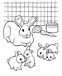 Coloring Pages For Kids Rabbit And Her Babies Animal