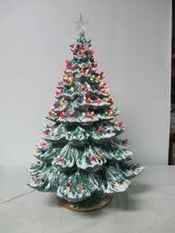 26 Vintage Ceramic Christmas Tree Holland Mold W Lights Snow Glitter