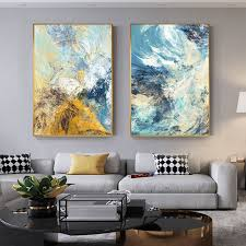 abstrakte geheimnis chaos farbe wand kunst bild blau gelb weiß linien leinwand malerei für wohnzimmer nordic decor fashion poster