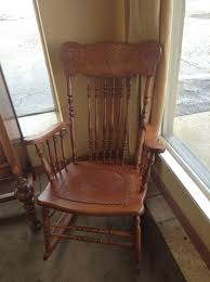CHAIR - Vintage Wooden Rocking Chair With Leather Seat 20