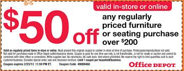 fice Depot $50 Furniture Coupon