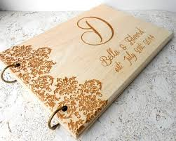 Rustic Wedding Guest Book Wooden Album Personalized Custom Laser Engraved Damask Pattern