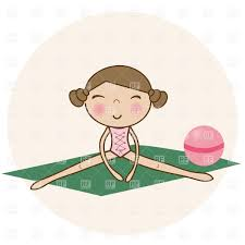 Pretty Little Girl Doing Gymnastics On Green Yoga Mat Royalty Free Vector Clip Art