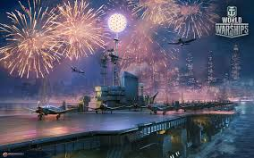 fonds d ecran world of warship feu d artifice navire porte avions
