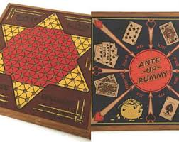 Vintage Wooden Game Board San Loo Chinese Checkers Ante Up Rummy Northwestern Products Co