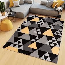 teppich kurzflor modern dreiecke schwarz gelb grau