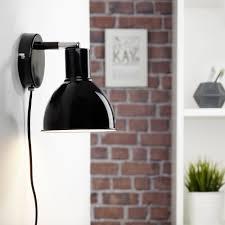 büromöbel wandleuchte e27 metall schwarz netzstecker